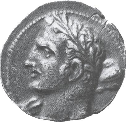 Retrato de Aníbal en el anverso de una moneda.