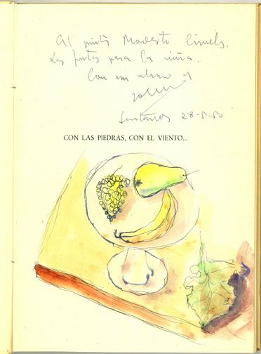 Dedicatoria y dibujo original de José Hierro a Modesto Ciruelos, en su libro: Con las piedras, con el viento. Santander, 1950.