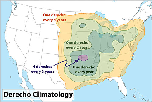 This image shows derecho frequency for the lower 48 United States Derechoclimo.png
