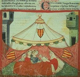 Frederick's birth in Jesi (illustration in Giovanni Villani's Nuova Cronica, ca. 1348)
