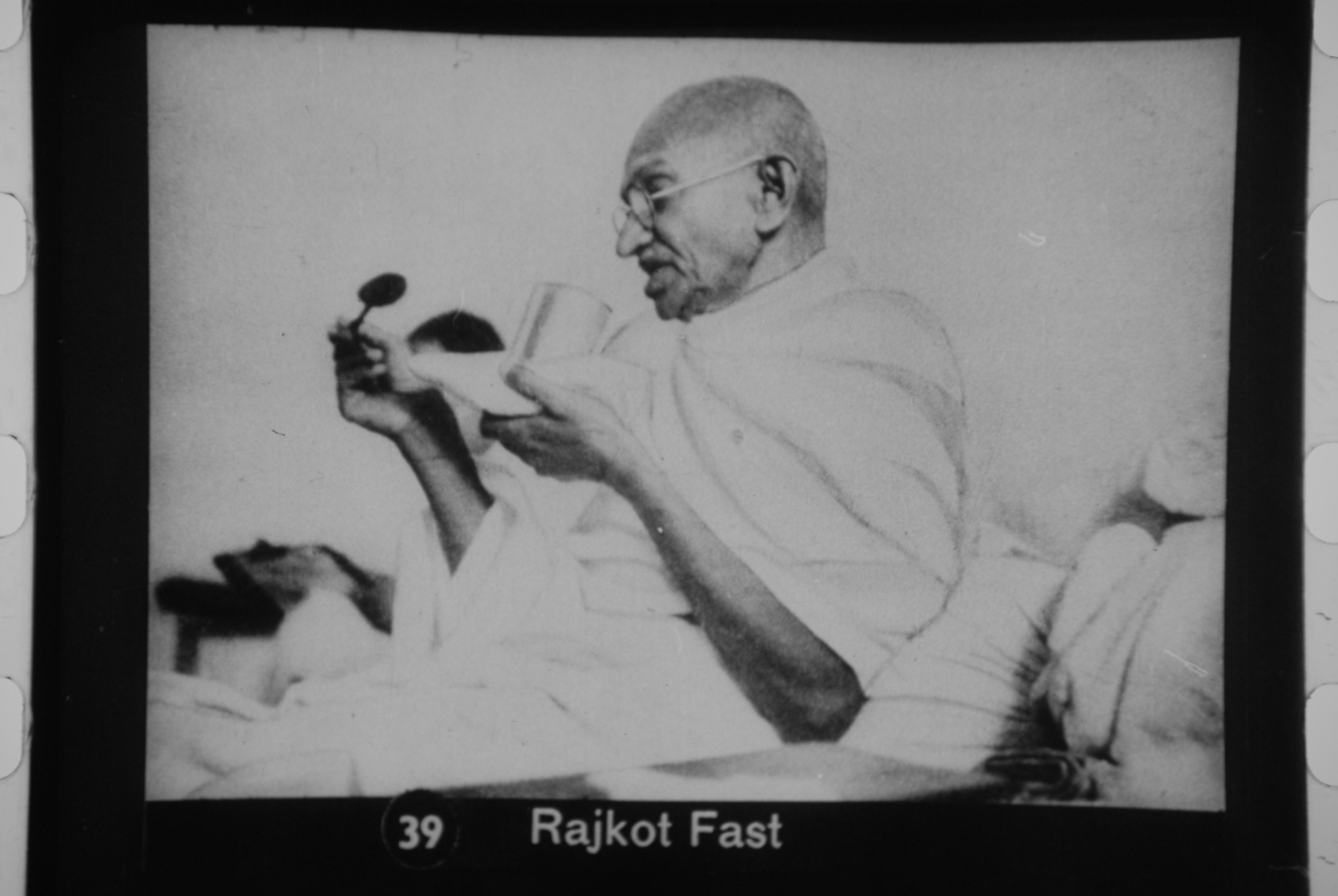 File:Gandhi fasting at Rajkot.jpg