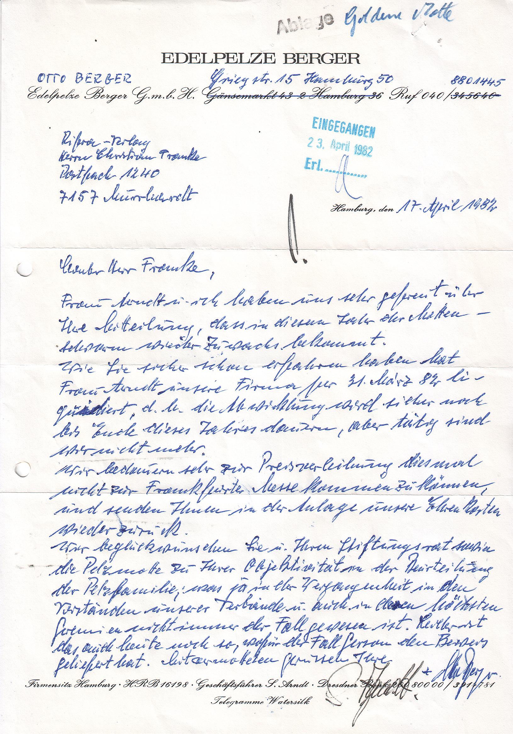 File:Goldene Pelzmotte 1982, Schreiben Otto Berger an den Rifra ...
