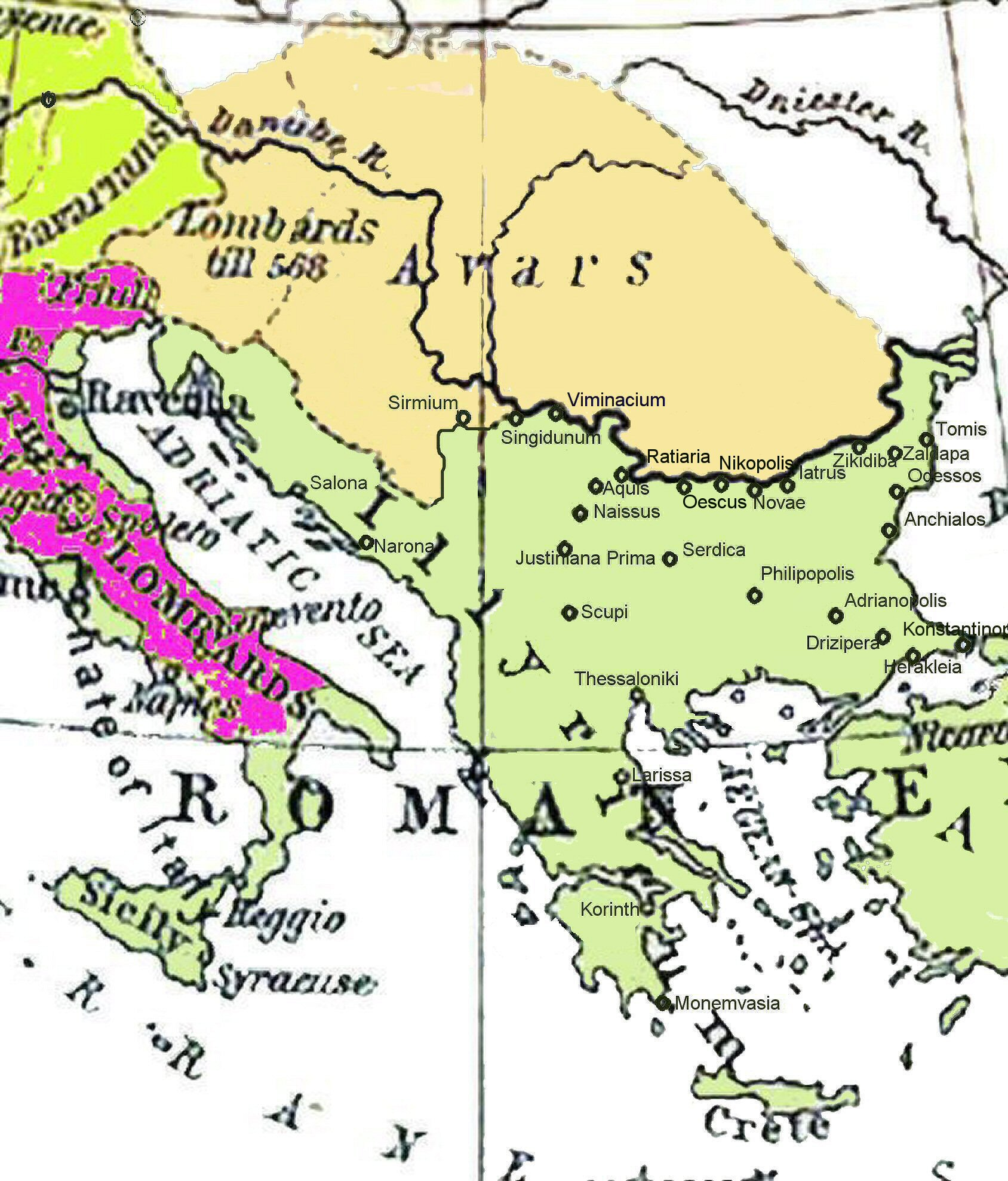 FileHistorical map of the Balkans around 582612 ADjpg