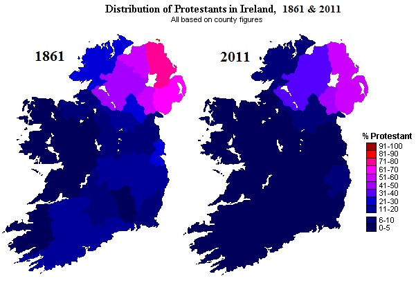 Ireland Protestants 1861-2011 (The (dark) blue areas include other non-Catholics and non-religious). Ireland Protestants 1861-2011.jpg