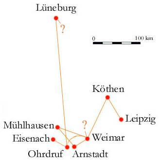 Ciudades donde Bach habitó.