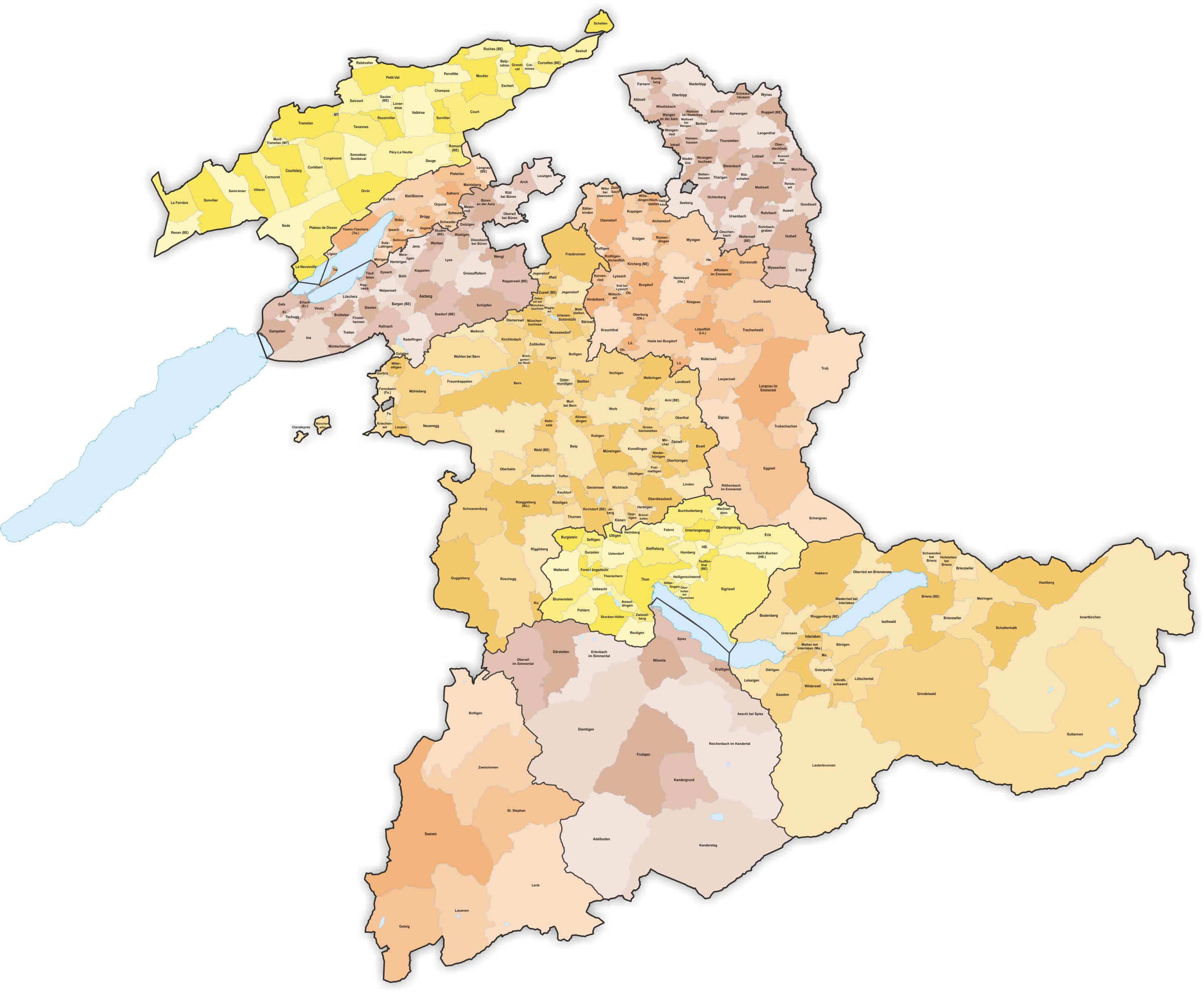 carte des cantons 2020 File:Karte Gemeinden des Kantons Bern farbig 2020.png   Wikimedia