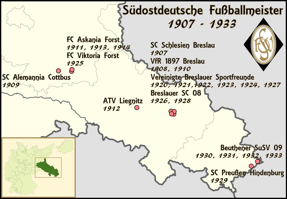 Breslau Karte 1930.Liste Der Sudostdeutschen Fussballmeister 1907 1933 Wikipedia