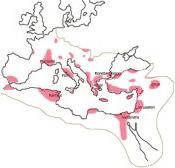 Kristinuskon levinneisyys vuonna 325. Kuva: Wikipedia
