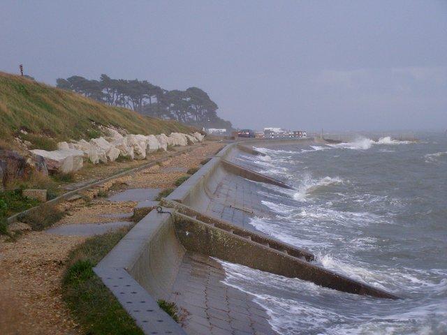 Lepe beach during rough seas - geograph.org.uk - 284361