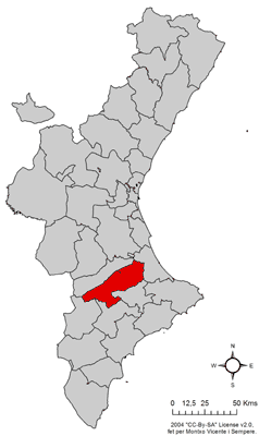 Location of Vall d'Albaida in the Valencian Community