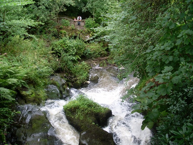 Looking down the waterfall in Rouken Glen Park - geograph.org.uk - 1421678
