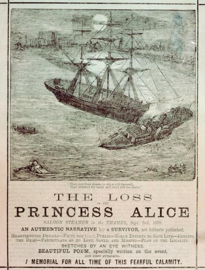 "Pamphlet showing Princess Alice being rammed by Bywell Castle; some people are seen in the water. The pamphlet is titled ""The Loss of the Princess Alice"""