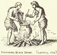 Preparing Black Drink, engraving by Joseph-François Lafitau, 1723