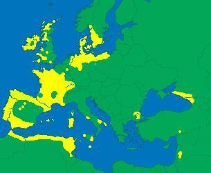 Megalithische Bauwerke in Europa, Nordafrika und Vorderasien (gelb). Vgl. Wikipedia Megalithkultur.