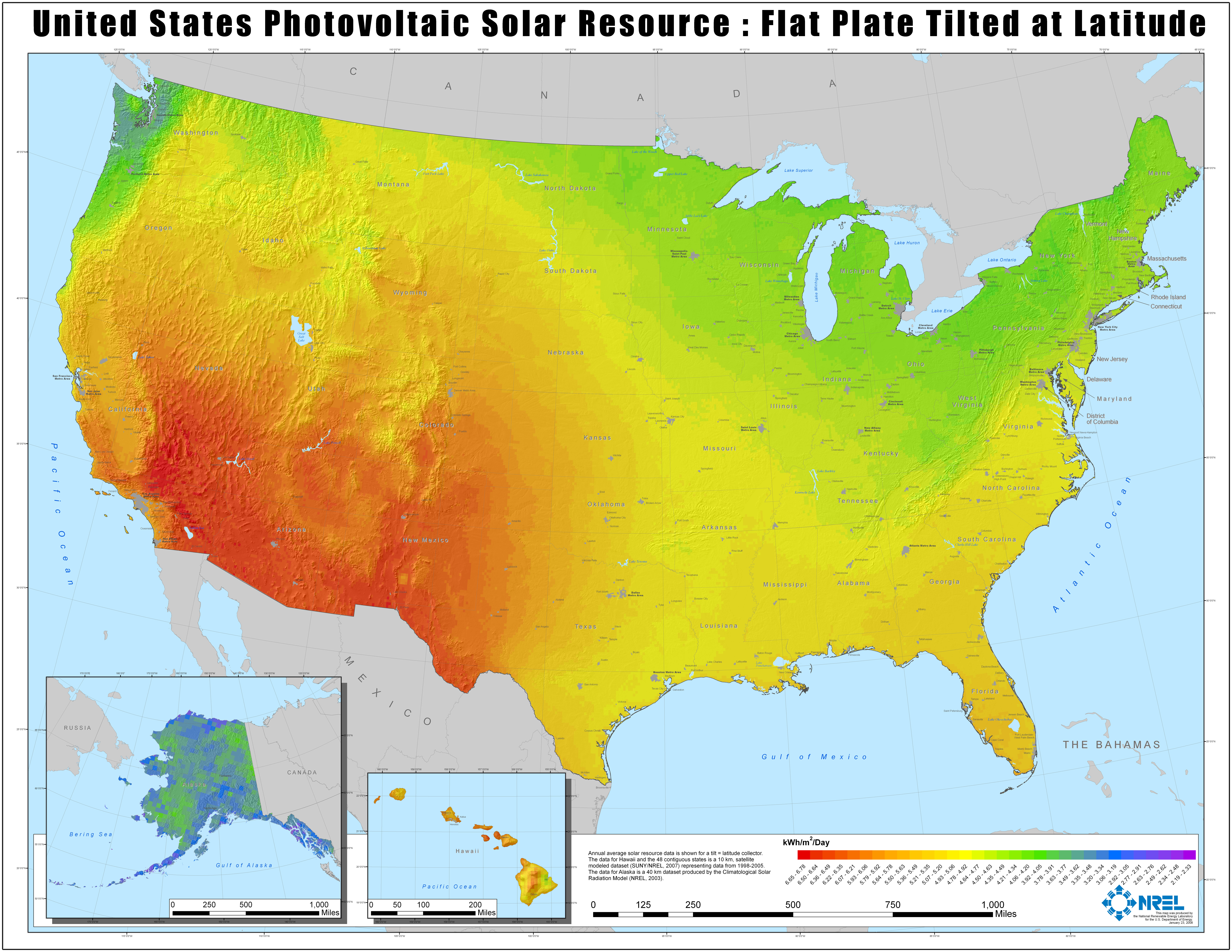 FileNREL USA PV Map Hires Jpg Wikimedia Commons - Radiation map in us