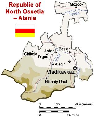 北オセティア=アラニア共和国の概略図