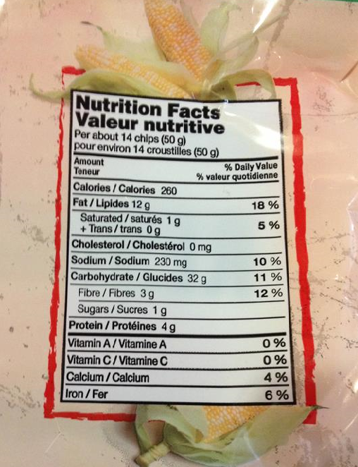 File:Nutrition facts table for Old Dutch Restaurante Red and White tortilla  chips .png