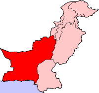 Map of Pakistan with Balochistan higlighted