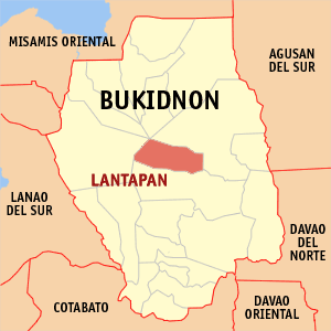 Map of Bukidnon showing the location of Lantapan