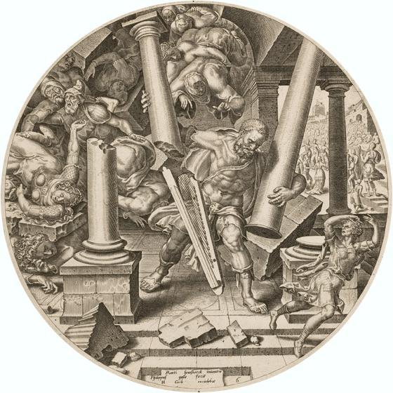 Philips Galle - Sansão Destrói o Templo dos Filisteus