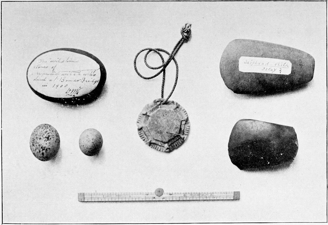 An image of an amulet, witch-stones and fairy arrows found in the Scottish Highlands.