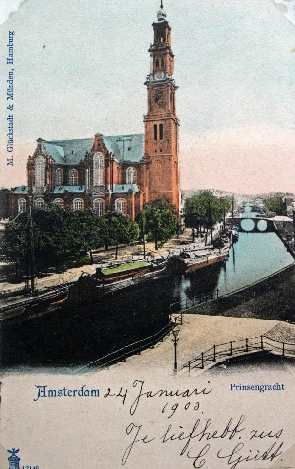 La Westerkerk d'Amsterdam sur une carte postale du début 1900.