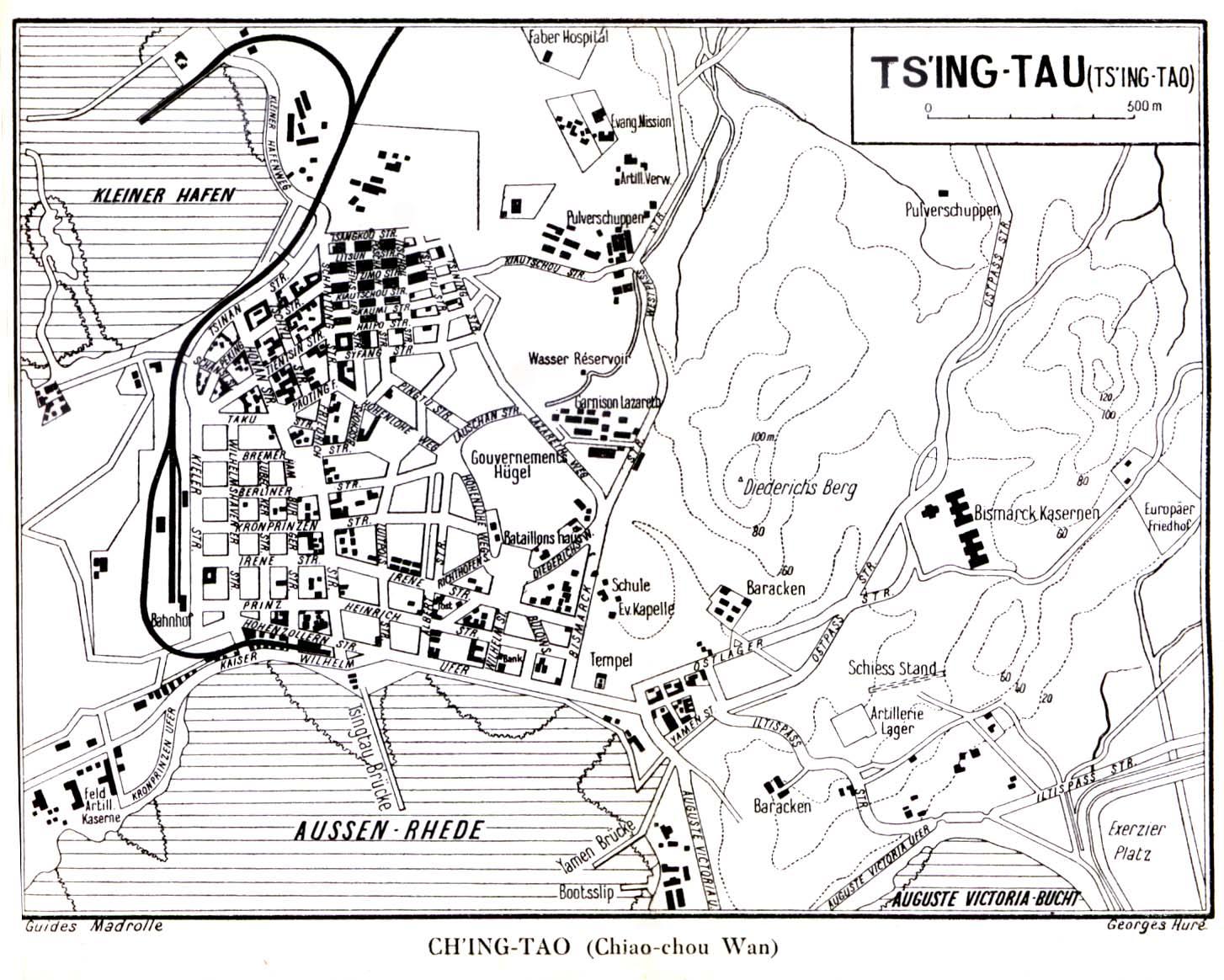Batalla de Tsingtao Qingdao-city-map-1912-in-german-from-madrolles-guidebook-to-northern-china