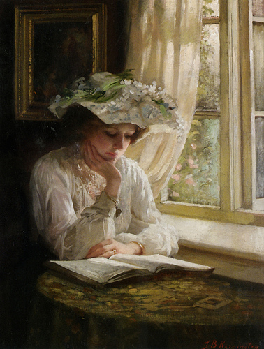 Thomas Benjamin Kennington-Lady reading by a window.jpg