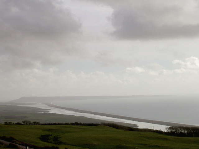 View of the Fleet, Chesil Beach and the Isle of Portland from Abbotsbury Castle - geograph.org.uk - 25112
