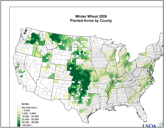 Winter Wheat 2009 Planted by County.png