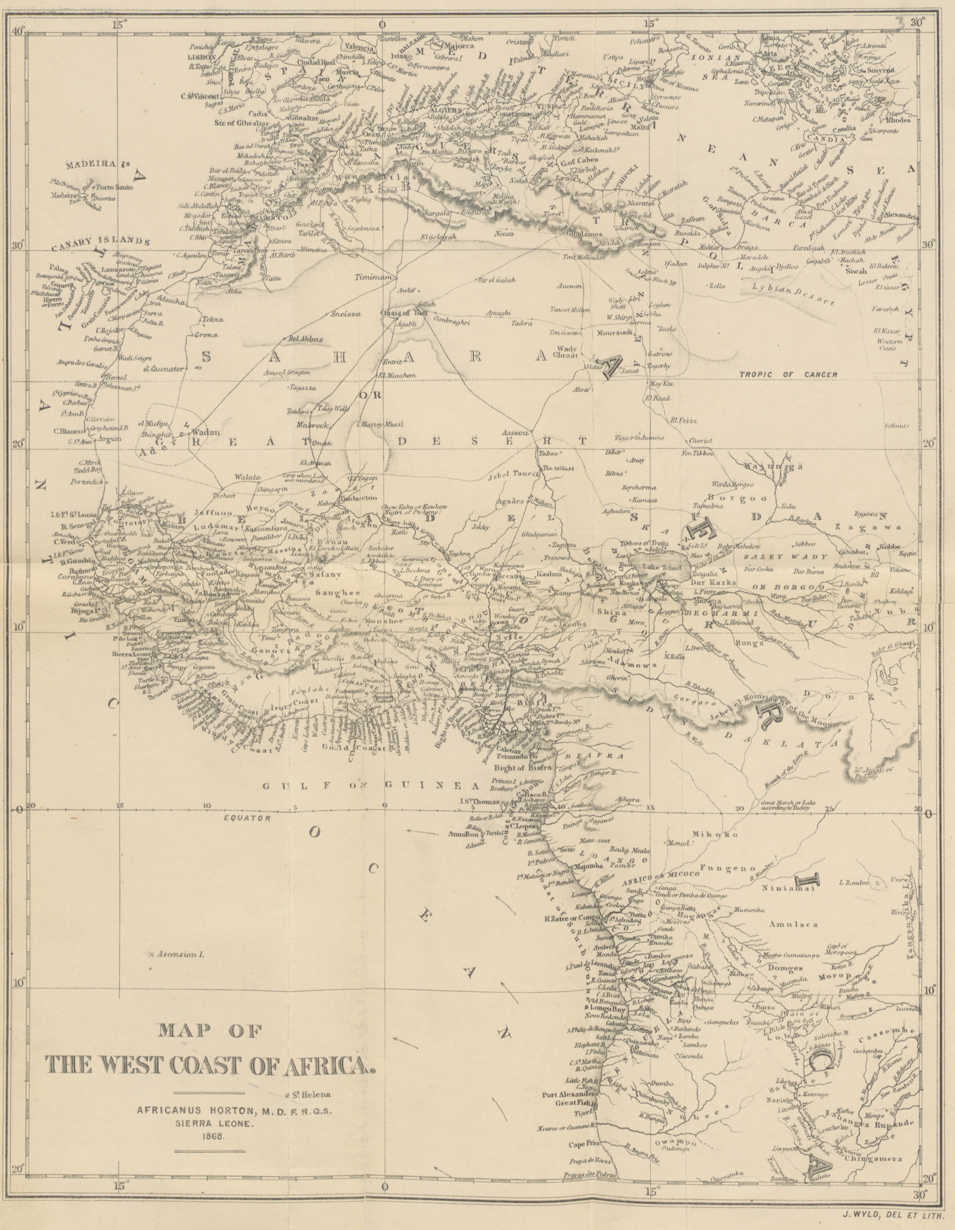 File1868 MAP OF THE WEST COAST OF AFRICA by Africanus Horton