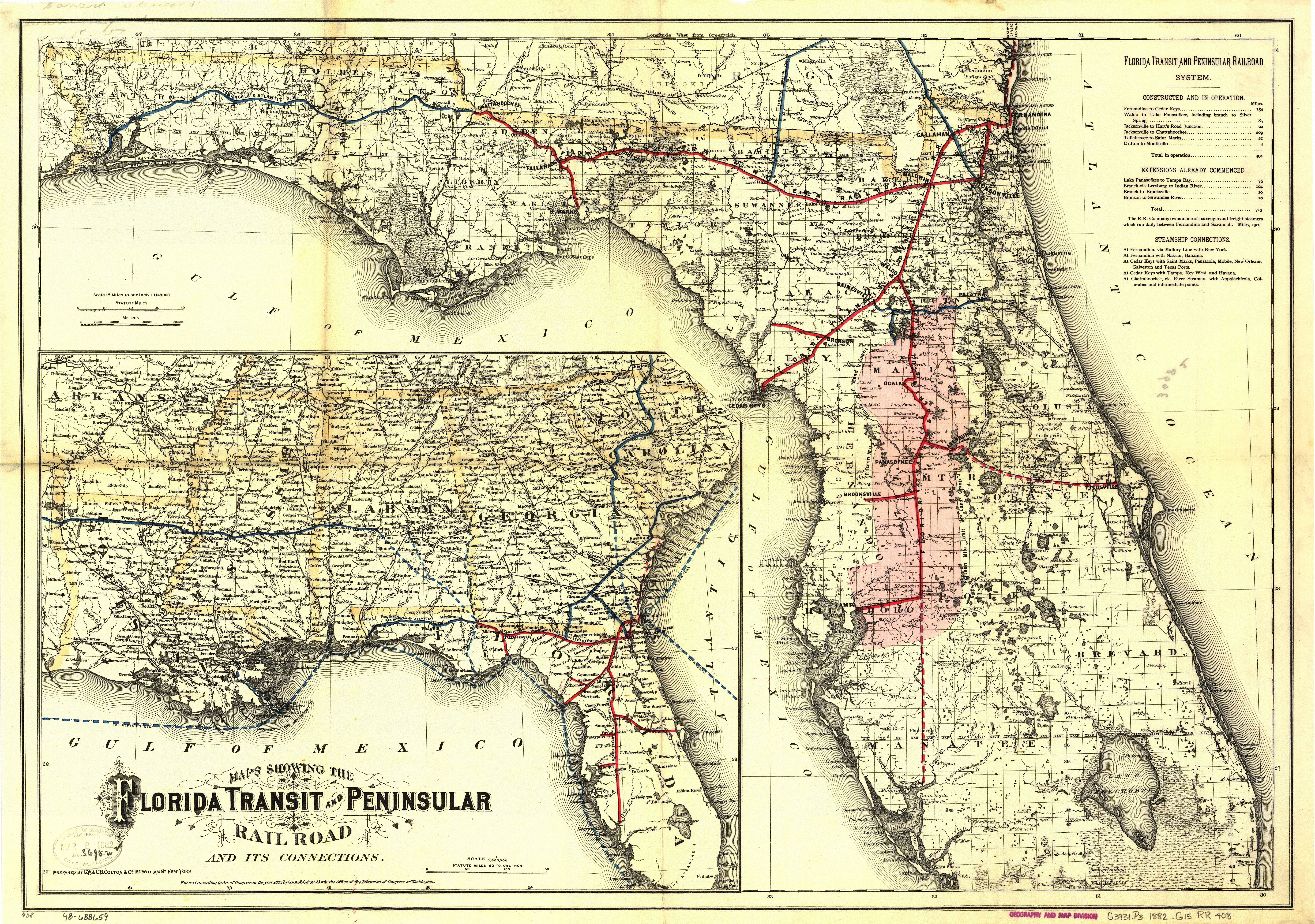 Florida Central Map.Florida Central And Peninsular Railroad Wikipedia