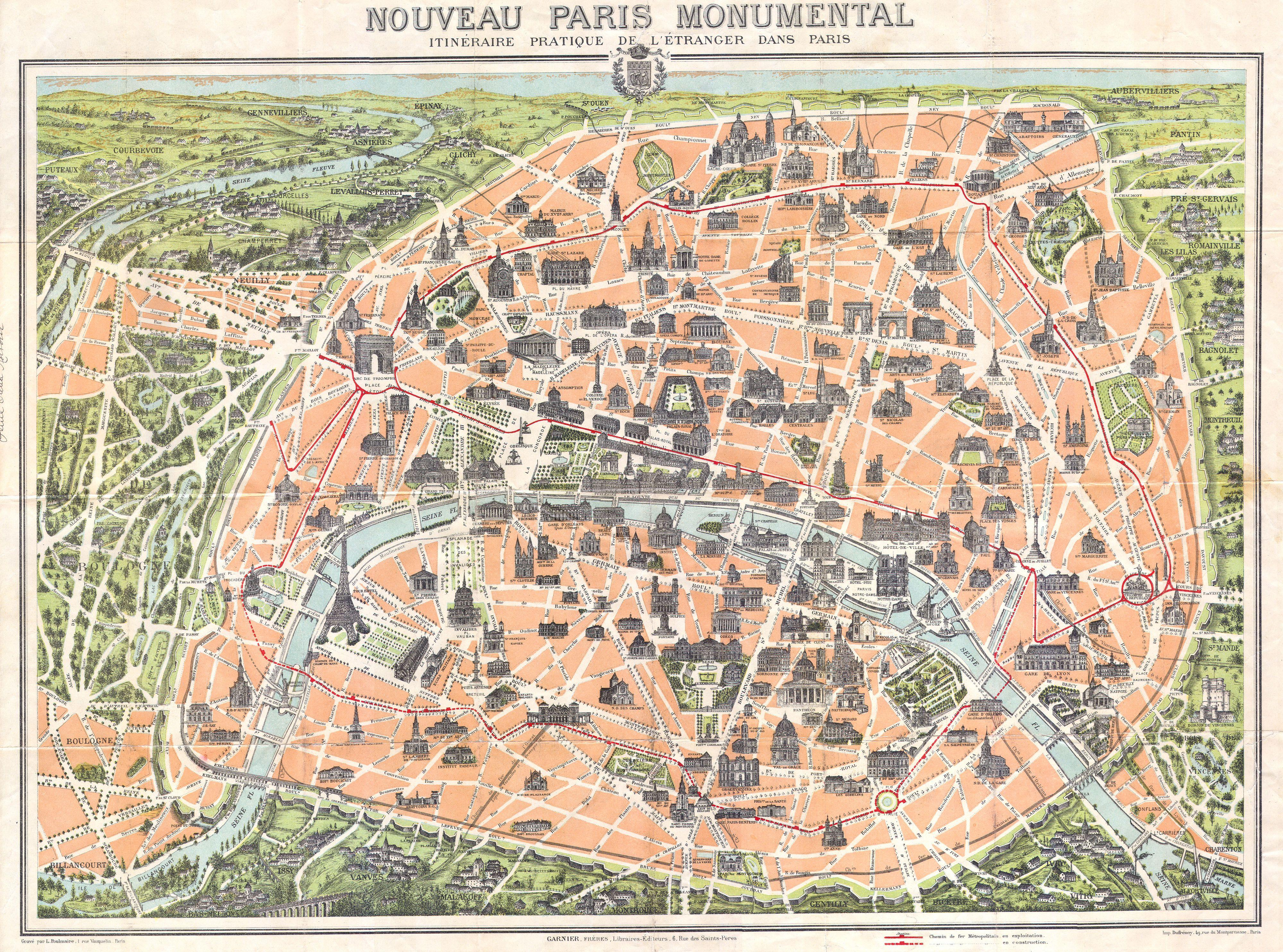 Maps Update 639482 A Map of Paris France Contemporary and – Map of Paris with Monuments