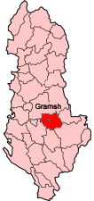 Map showing Gramsh within Albania