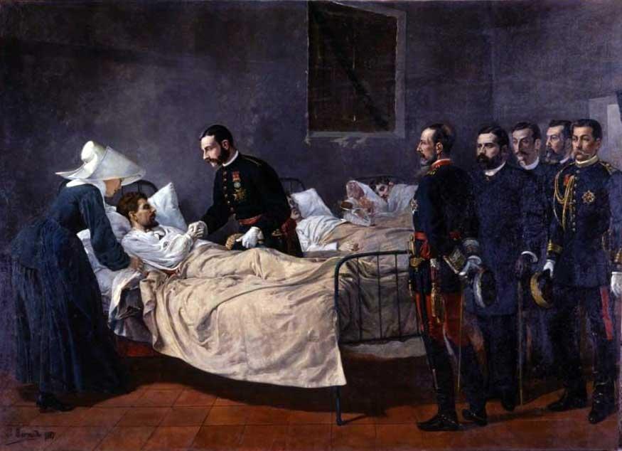 Alfonso XII visitando el hospital de coléricos de Aranjuez, 1885.