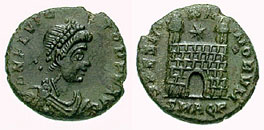 Roman Emperor Flavius Victor on this as struck in Aquileia mint.