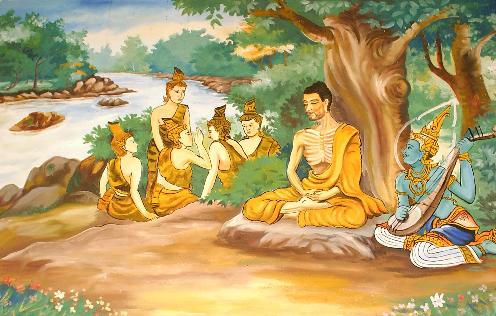 File:Ascetic Bodhisatta Gotama with the Group of Five.jpg ...