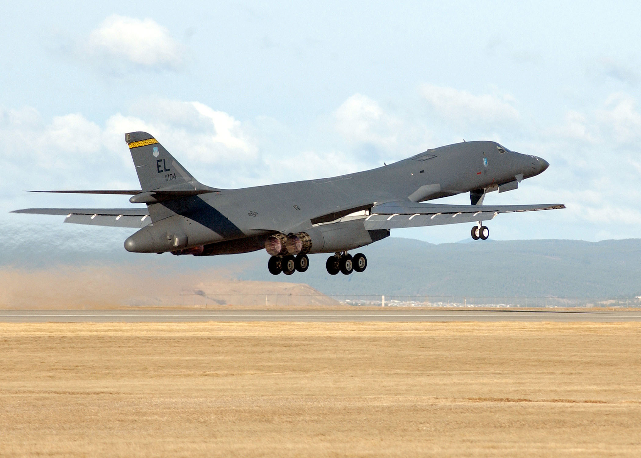 A B-1B Lancer lifts off from Ellsworth Air Force Base, one of South Dakota's largest employers.