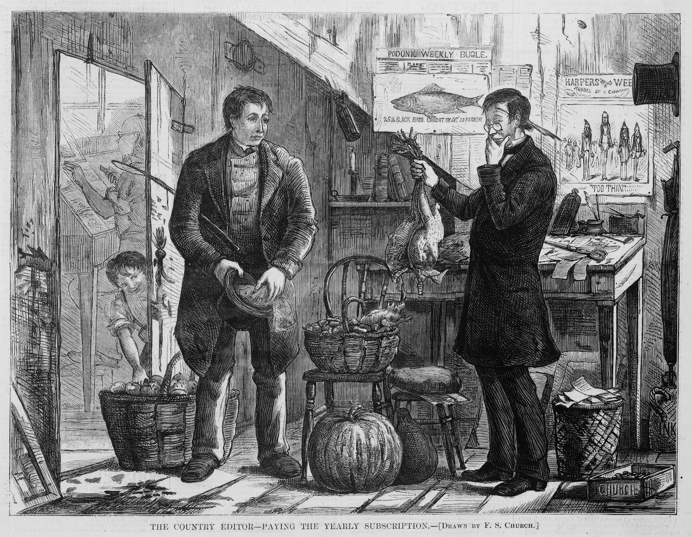 "A newspaper illustration depicting a man engaging in barter, paying his yearly newspaper subscription to the ""Podunk Weekly Bugle"" with various farm produce."