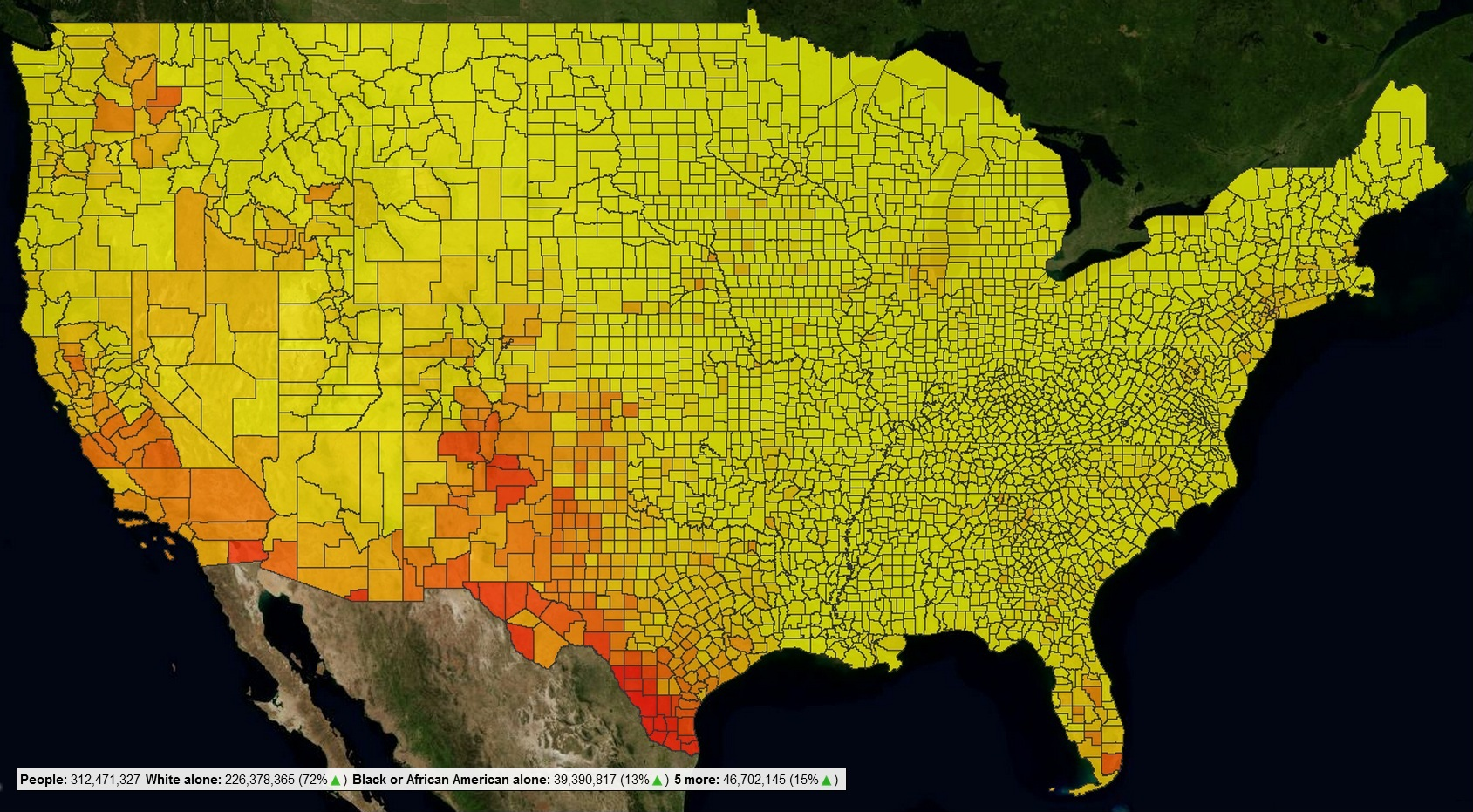 FileCensusViewer US  Census Latino Population As Heatmap By - Populatiojn of us by counties map