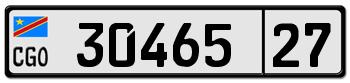 Номерной знак Демократической Республики Конго стандарта 2009 года