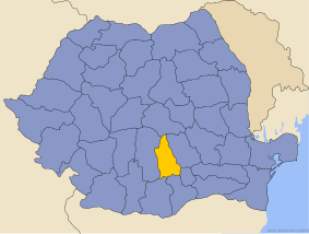 Administrative map of Руминия with Дамбовитса county highlighted