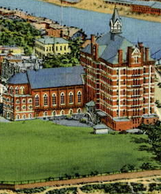 A postcard image of Duquesne University's campus.