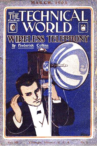 "Ernst Ruhmer at his ""photo-electric"" optical telephone system station. (1905) Ernst Ruhmer, Technical World cover (1905).jpg"