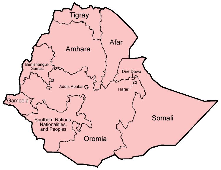 Karte Äthiopiens