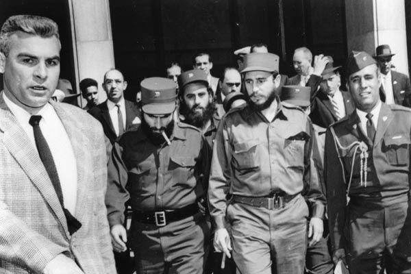 Fidel Castro en una visita a Washington