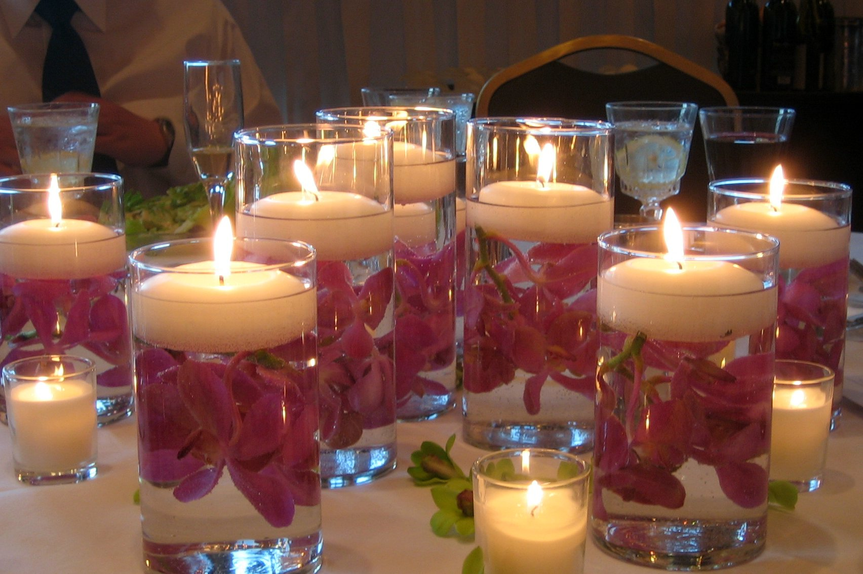 floating candle, wedding, diy, budget wedding, flowers, water, fire