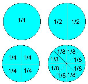 A circle divided into fractions