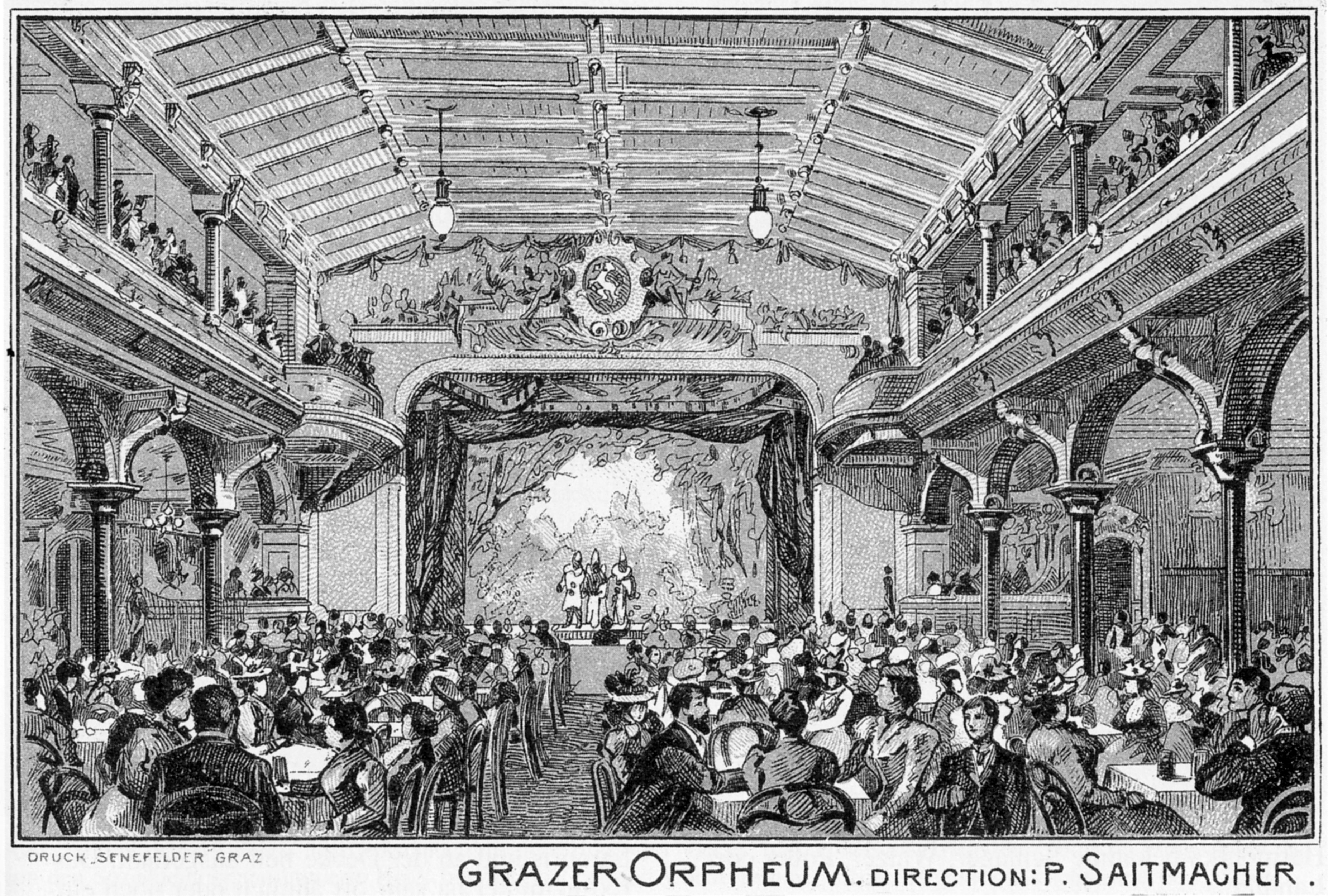 Grazer Varieté Orpheum, Großer Varietésaal, Ansichtskarte, um 1900