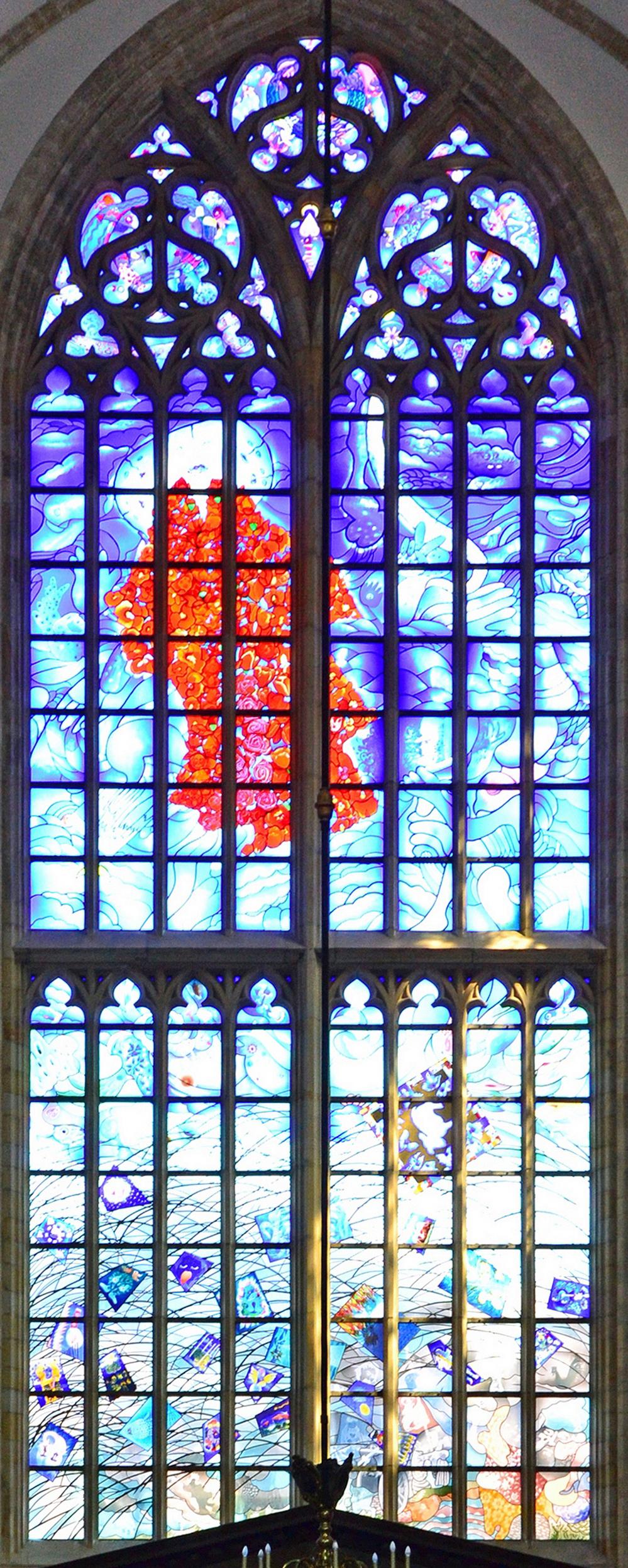 Bestand:Grote Kerk, Haarlem Blaues Buntglasfenster 05.jpg ...